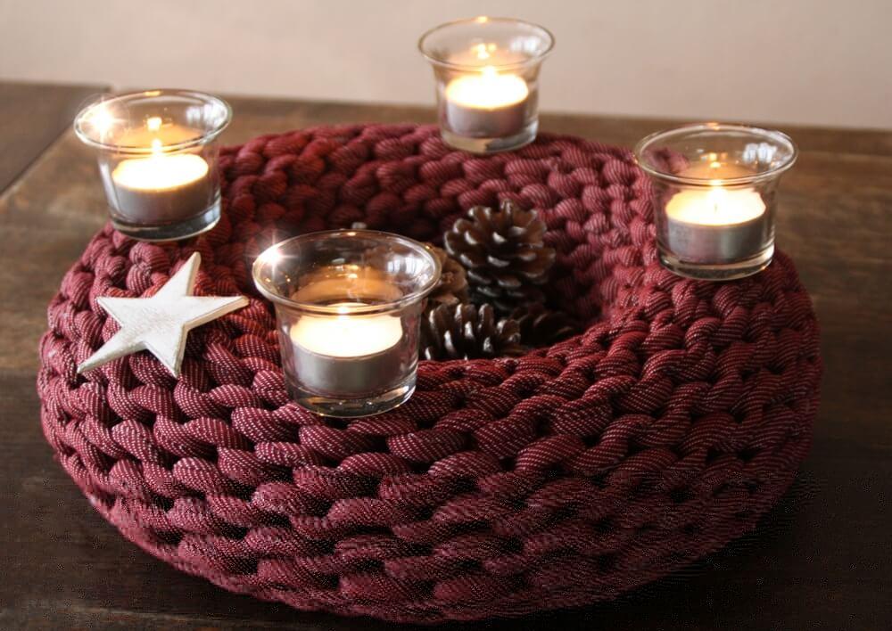 textilgarn adventskranz jeans rot textilo blog h keln. Black Bedroom Furniture Sets. Home Design Ideas