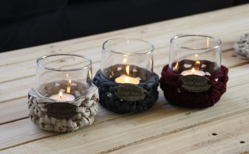 Textilgarn – Tischdeko: Windlichter für den Herbst