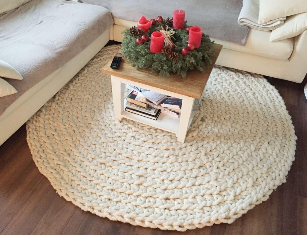 Runder Häkelteppich aus Filzseil von Silke
