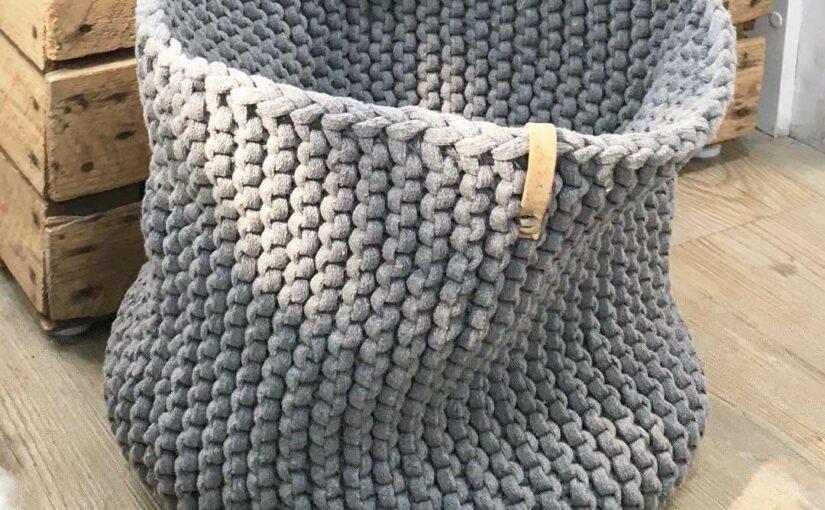 Strickkorb aus Strickschnur & Strickband