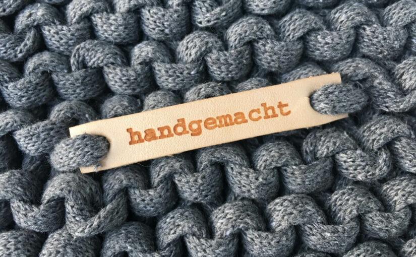 Textilo-Lederschild -Label handgemacht