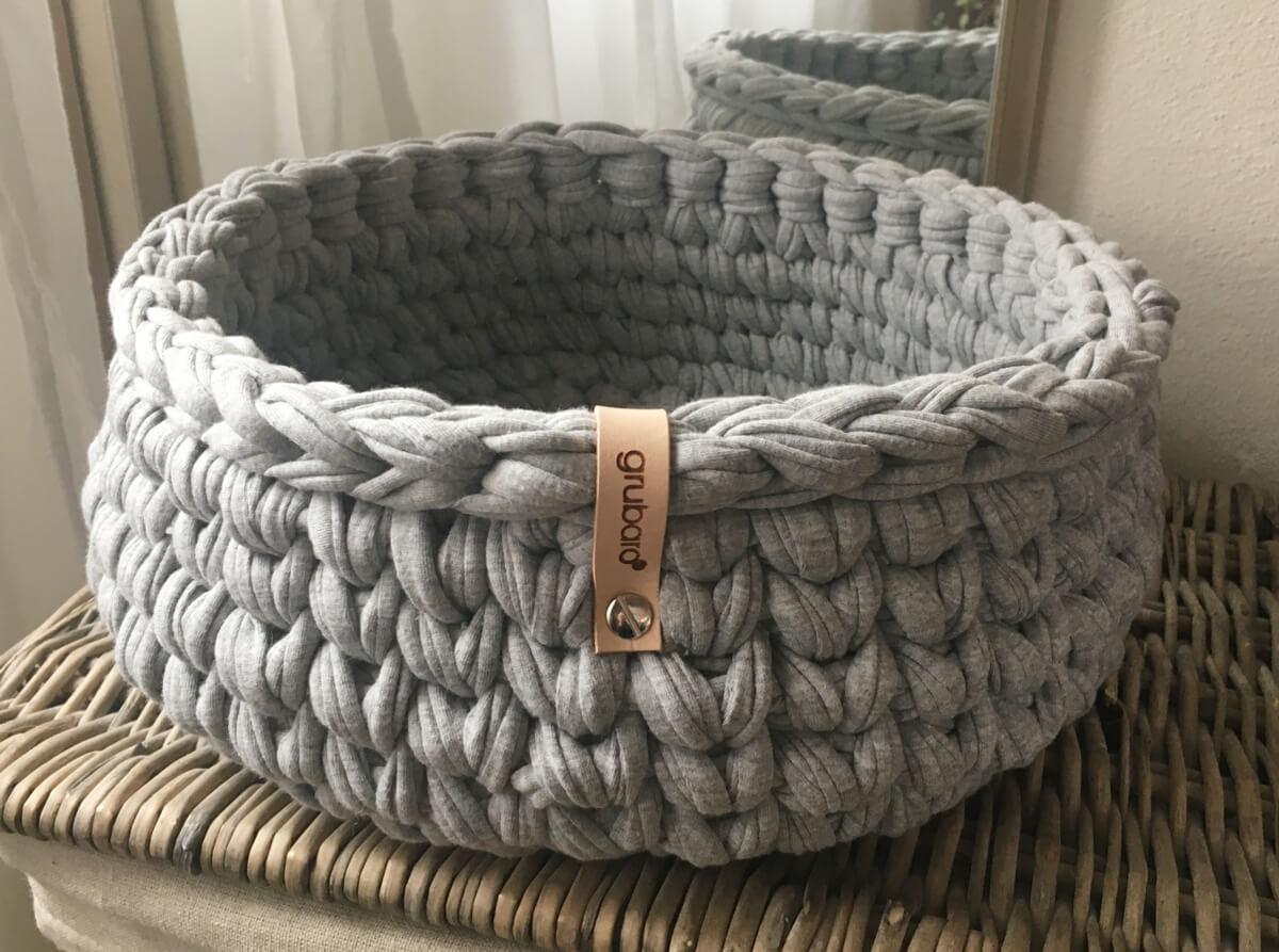 Häkelkorb aus Textilgarn Hellgrau-Melange