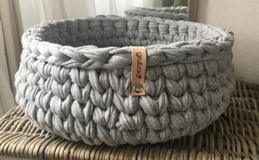 Korb aus Textilo Textilgarn Hellgrau-Melange