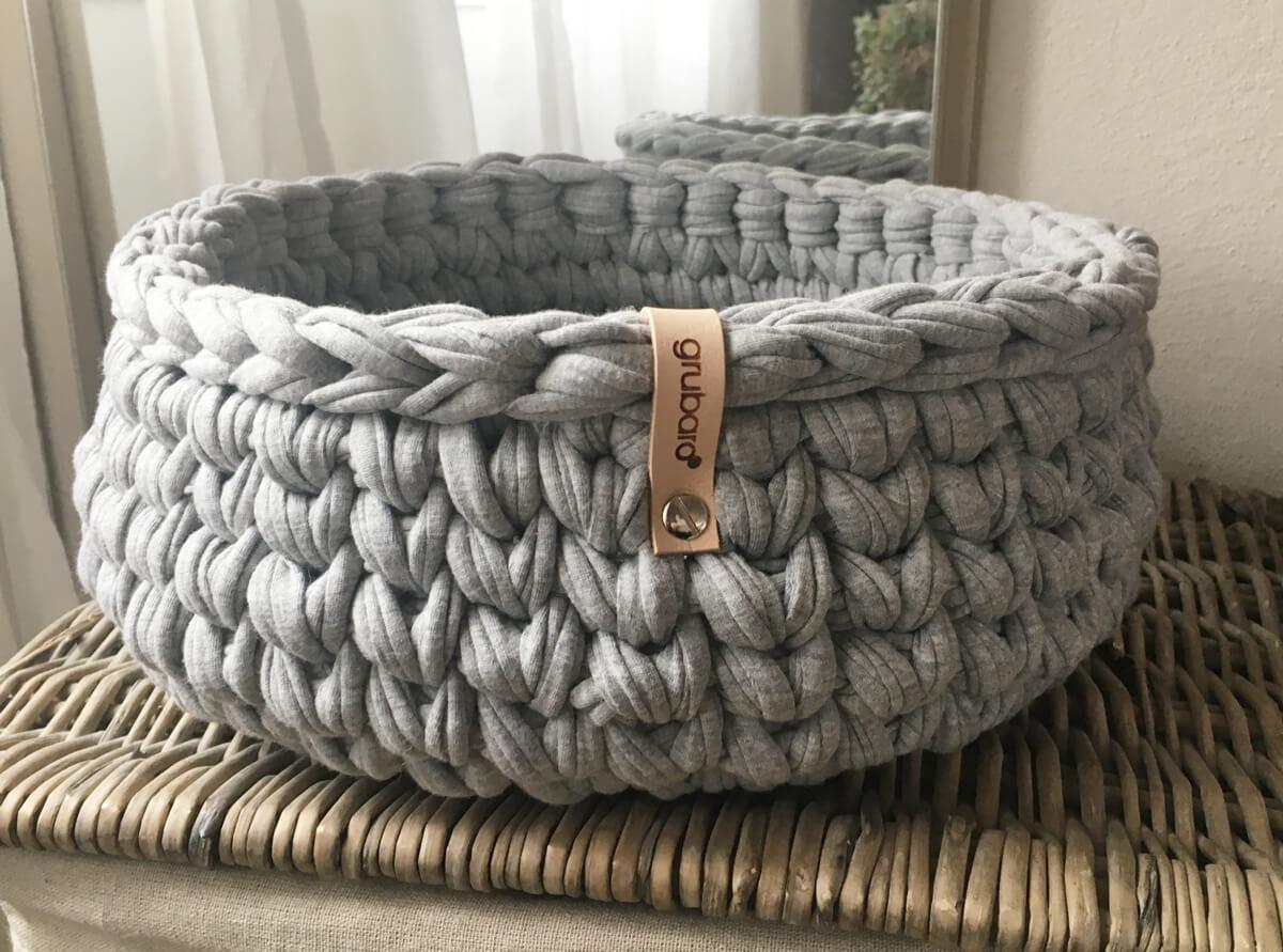 Häkelkorb aus Textilgarn Hellgrau-Melange 2